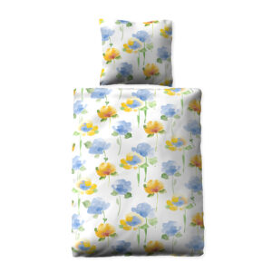 jilda-tex Bettwäsche Floral – Blue (135x200cm)