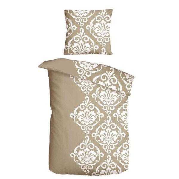 braune bettwäsche mit ornamenten in weiß