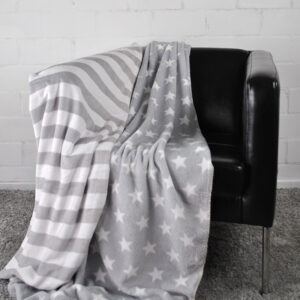 jilda-tex Wohndecke Stars & Stripes – Grau (150x200cm)