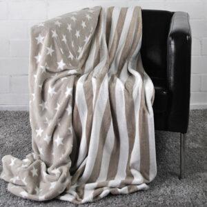 jilda-tex Wohndecke Stars & Stripes – Taupe (150x200cm)