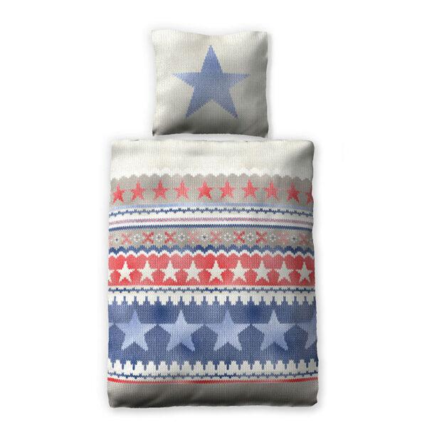 Bettwäsche Blue Stars Freisteller in den Farben Blau, Rot, Grau und Weiß mit vielen Sternen