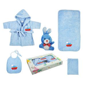 jilda-tex Babyset Kinderset Schiff – Blau