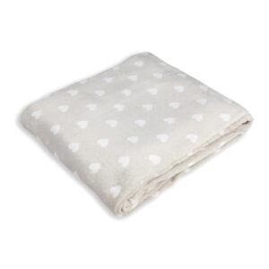 jilda-tex Wohndecke Soft – Beige Heart White (150x200cm)
