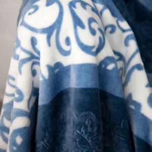 jilda-tex Wohndecke Soft – Stamped Blue (150x200cm)