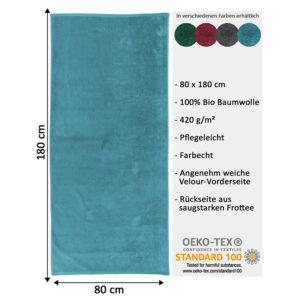 jilda-tex Uni Strandtuch Holiday – Petrol (80x180cm)