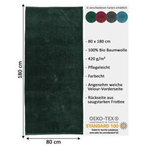 jilda-tex Uni Strandtuch Holiday – Grün (80x180cm )