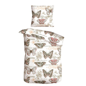 jilda-tex Bettwäsche Vintage Butterfly – Rose (135x200cm)