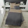 Bettwäsche im Design Dark Grey Stripe Beige auf einem Bett von oben