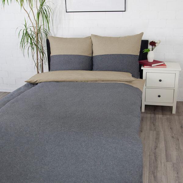 Bettwäsche im Design Dark Grey Stripe Beige von vorne (Emotionsbild)