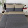 Bettwäsche im Design Dark Grey Stripe Beige schräg von oben