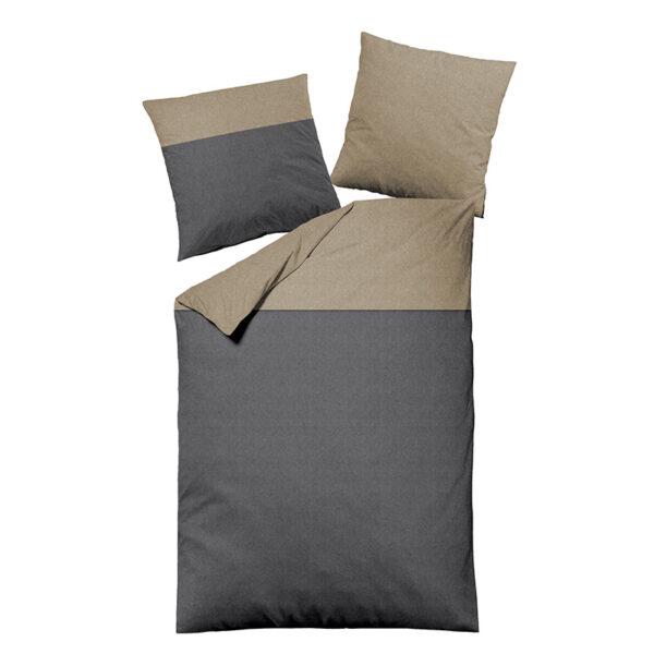 Bettwäsche im Design Dark Grey Stripe Beige Freisteller