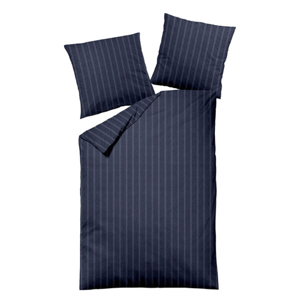 Bettwäsche Melange im Design Dark Pinstripes Blue als Freisteller