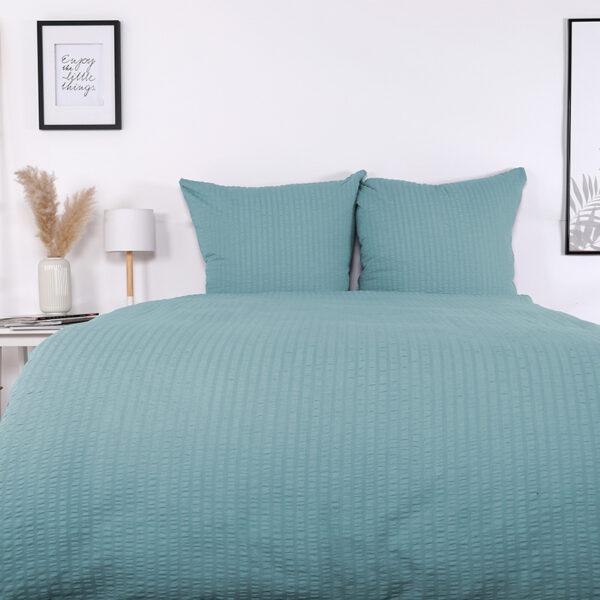 Bettwäsche im Design Valencia Himmelblau von vorne (Emotionsbild)