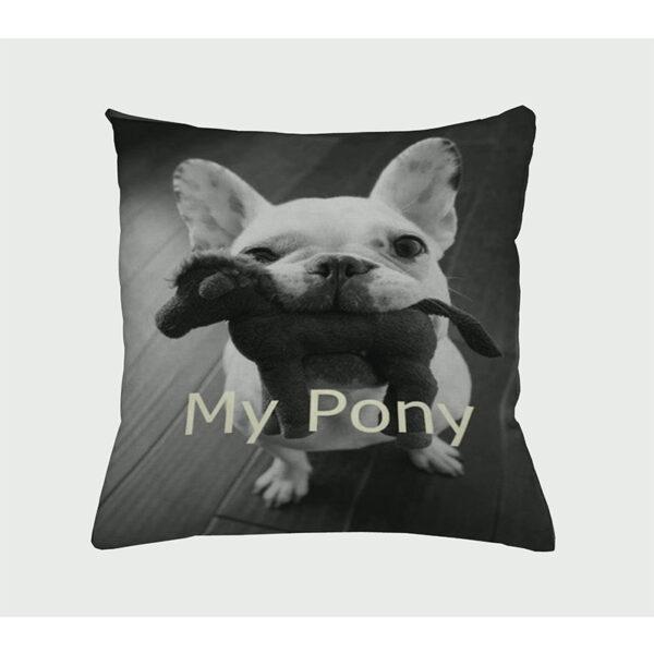 Zierkissen My Pony - Hund mit einem Pony im Mund