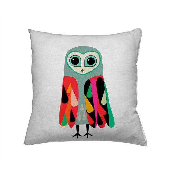 Zierkissen Retro Owl - Eule in bunten Farben