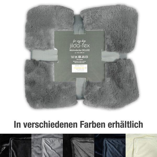 wohndecke Deluxe mit Felloptik in der Farbe Grau