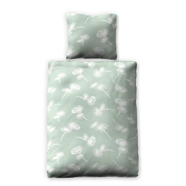 Grüne Bettwäsche mit weißen Blumen