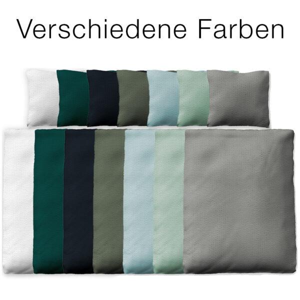 Bettwäsche Valencia in den sieben Farben: Weiß, Petrol, Dunkelblau, Khaki, Himmelblau, Mint und Grau